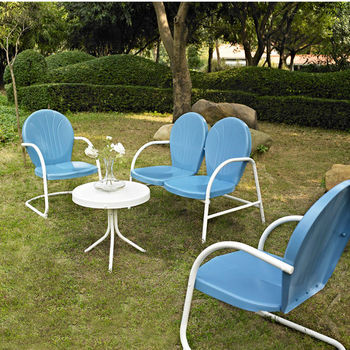 Crosley Furniture Griffith 4 Piece Metal Outdoor Conversation Seating Set - Loveseat & 2 Chairs in Sky Blue Finish with Side Table in White Finish