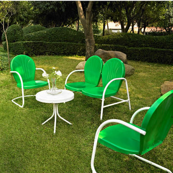 Crosley Furniture Griffith 4 Piece Metal Outdoor Conversation Seating Set - Loveseat & 2 Chairs in Grasshopper Green Finish with Side Table in White Finish