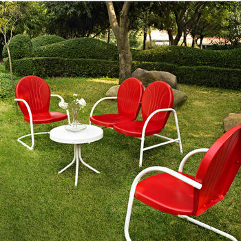 Crosley Furniture Griffith 4 Piece Metal Outdoor Conversation Seating Set - Loveseat & 2 Chairs in Red Finish with Side Table in White Finish
