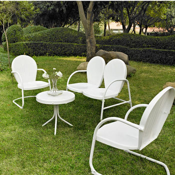 Crosley Furniture Griffith 4 Piece Metal Outdoor Conversation Seating Set - Loveseat & 2 Chairs in White Finish with Side Table in White Finish