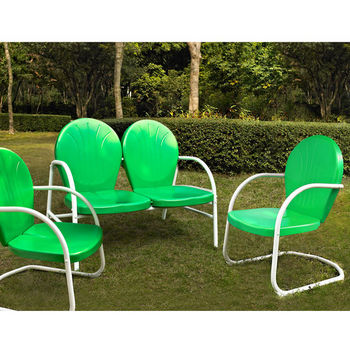 Crosley Furniture Griffith 3 Piece Metal Outdoor Conversation Seating Set - Loveseat & 2 Chairs in Grasshopper Green Finish
