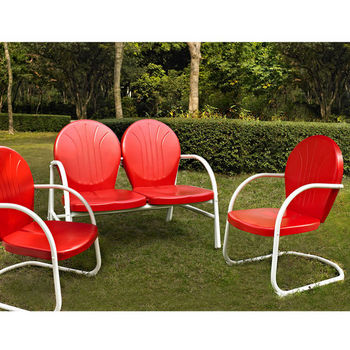 Crosley Furniture Griffith 3 Piece Metal Outdoor Conversation Seating Set - Loveseat & 2 Chairs in Red Finish