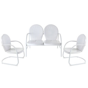 Crosley Furniture Griffith 3 Piece Metal Outdoor Conversation Seating Set - Loveseat & 2 Chairs in White Finish