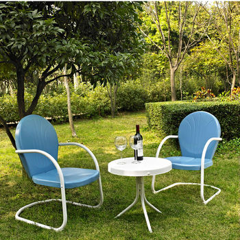 Crosley Furniture Griffith 3 Piece Metal Outdoor Conversation Seating Set - Two Chairs in Sky Blue Finish with Side Table in White Finish