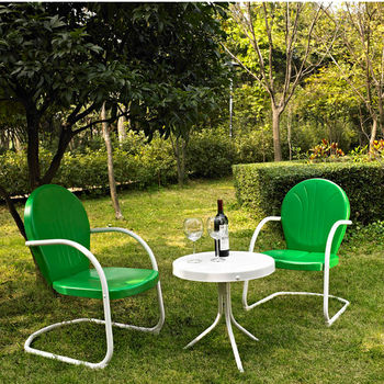 Crosley Furniture Griffith 3 Piece Metal Outdoor Conversation Seating Set - Two Chairs in Grasshopper Green Finish with Side Table in White Finish