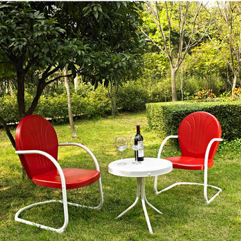 Crosley Furniture Griffith 3 Piece Metal Outdoor Conversation Seating Set - Two Chairs in Red Finish with Side Table in White Finish