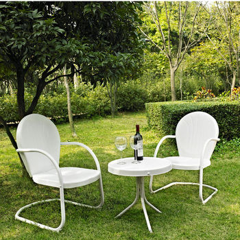 Crosley Furniture Griffith 3 Piece Metal Outdoor Conversation Seating Set - Two Chairs in White Finish with Side Table in White Finish