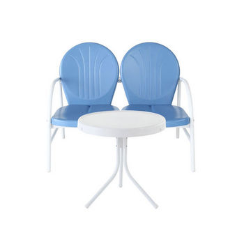 Crosley Furniture Griffith 2 Piece Metal Outdoor Conversation Seating Set - Loveseat & Table in Sky Blue Finish
