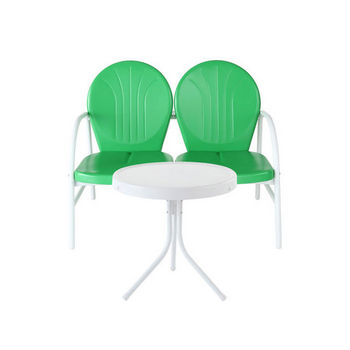 Crosley Furniture Griffith 2 Piece Metal Outdoor Conversation Seating Set - Loveseat & Table in Grasshopper Green Finish