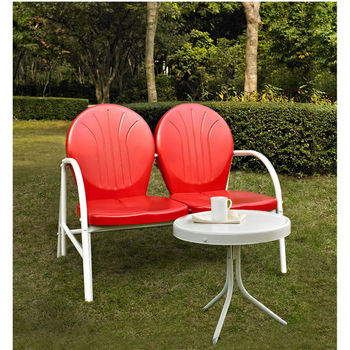 Crosley Furniture Griffith 2 Piece Metal Outdoor Conversation Seating Set - Loveseat & Table in Red Finish