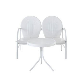 Crosley Furniture Griffith 2 Piece Metal Outdoor Conversation Seating Set - Loveseat & Table in White Finish