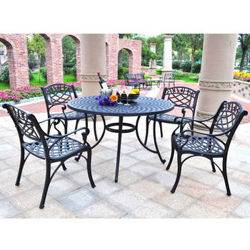 "Crosley Furniture Sedona 48"" Five Piece Cast Aluminum Outdoor Dining Set with Arm Chairs in Black Finish"