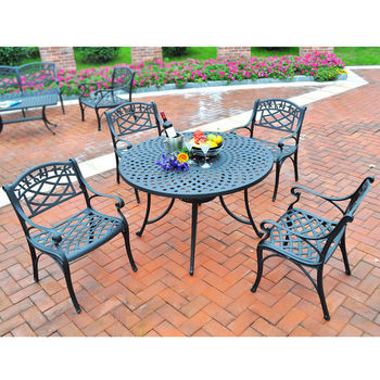 """Crosley Furniture Sedona 42"""" Five Piece Cast Aluminum Outdoor Dining Set with Arm Chairs in Black Finish"""