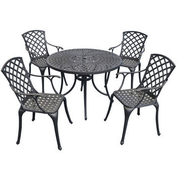 """Crosley Furniture Sedona 42"""" Five Piece Cast Aluminum Outdoor Dining Set with High Back Arm Chairs in Black Finish"""