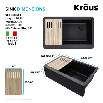 Kraus Kitchen Sink Dimensions 30in