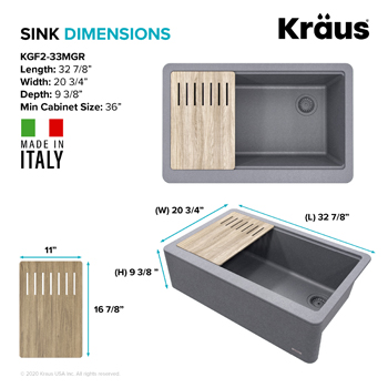 Kraus Kitchen Sink Dimensions 33in