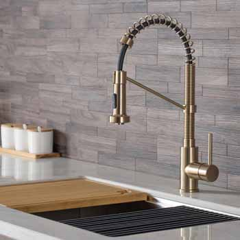 Brushed Gold - Sink and Faucet View 1