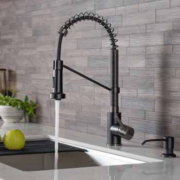 Matte Black/Black Stainless Steel - Faucet Close Up 5