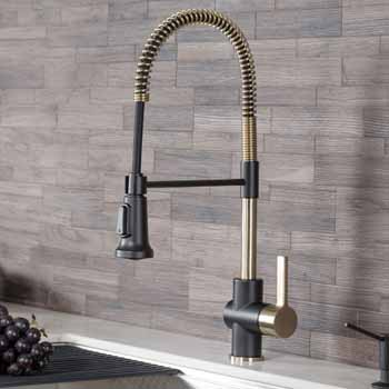 Brushed Gold /Matte Black - Faucet Close Up 1