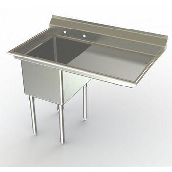 Aero NSF Single Bowl Deluxe Sinks, Right Hand Drainboard