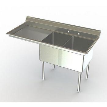 Aero NSF Double Bowl Deluxe Sinks, Left Hand Drainboard
