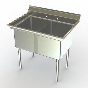 Aero NSF Double Bowl Deluxe Sinks, No Drainboard