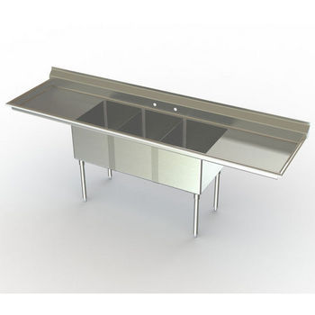 Aero NSF 3 Compartment Deluxe Sinks, Left Hand/Right Hand Drainboards