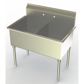 Aero Non-NSF Double Bowl Deluxe Sinks, No Drainboard