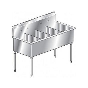 Aero Non-NSF 4 Compartment Deluxe Sinks, No Drainboard