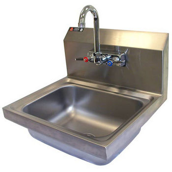 """Aero stainless steel utility sink with 8"""" rear riser. Includes gooseneck faucet, strainer and p-trap overflow."""
