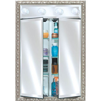 Afina Signature Collection Double Door Medicine Cabinet w/ Traditional Light w/ Multiple Group Finishes, Recessed or Surface Mount