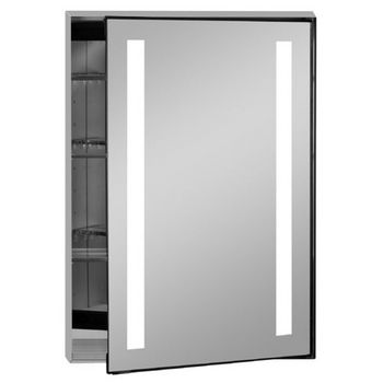 Afina Illume Collection Rectangle Backlit LED Medicine Cabinets w/Inside Electrical Sockets, Hinged Right, 24'' W x 4'' D x 36'' H
