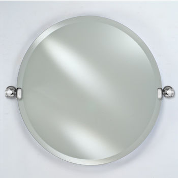 """Afina Radiance Collection Round Frameless 1"""" Beveled Wall Mirror with Decorative Transitional Tilt Brackets, Sold as Pair"""