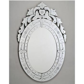 Bathroom Mirror Traditional Oval Wall Mirror With Cut And Etched Glass Frame By Afina Kitchensource Com