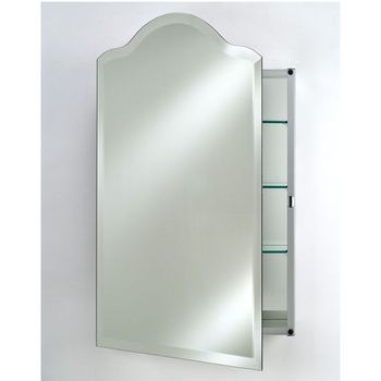 Afina Frameless Bevel Glass Scallop Top Medicine Cabinets