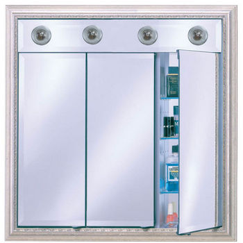 Afina Signature Collection 34Wx34H Group A Triple Mirror Door Medicine Cabinet With Contemporary Lights Available In