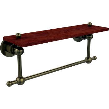 16'' Hardware Shelf with Towel Bar, Antique Brass