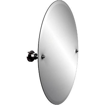 Oval Mirror with Satin Chrome Hardware