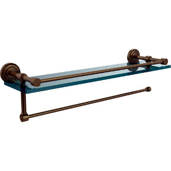 16'' Antique Brass Shelving with Paper Towel Roll Holder