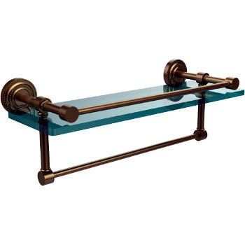 16'' Brushed Bronze Shelving with Towel Bar