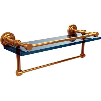 16'' Polished Brass Shelving with Towel Bar