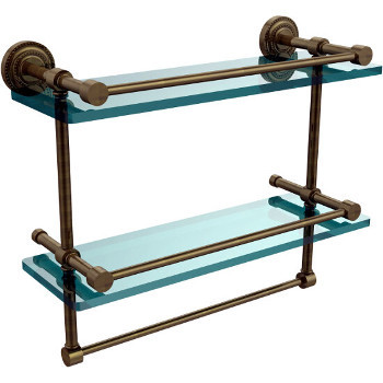 16'' Antique Brass Shelving With Towel Bar