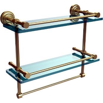 16'' Satin Brass Shelving With Towel Bar