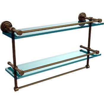 22'' Antique Brass Shelving With Towel Bar