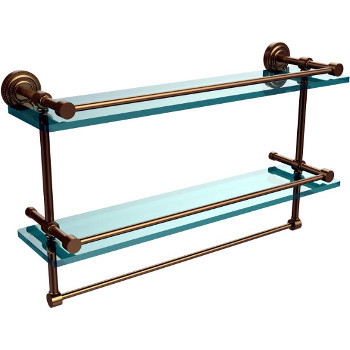 22'' Brushed Bronze Shelving With Towel Bar