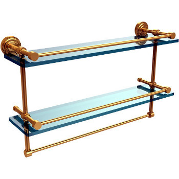 22'' Polished Brass Shelving With Towel Bar