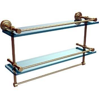 22'' Satin Brass Shelving With Towel Bar