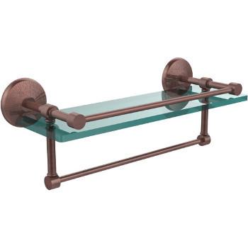 16'' Antique Copper Hardware Shelf with Towel Bar