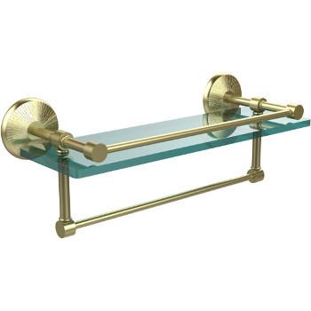 16'' Satin Brass Hardware Shelf with Towel Bar