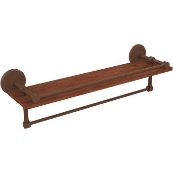 22'' Antique Bronze Hardware Shelf with Towel Bar